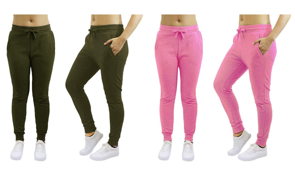 [2-Pack] Women's Heavyweight Fleece Lined Jogger Sweatpants-Olive & Pink-Small-Daily Steals