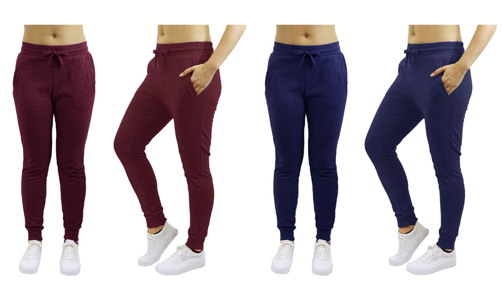 [2-Pack] Women's Heavyweight Fleece Lined Jogger Sweatpants-Burgundy & Navy-Small-Daily Steals