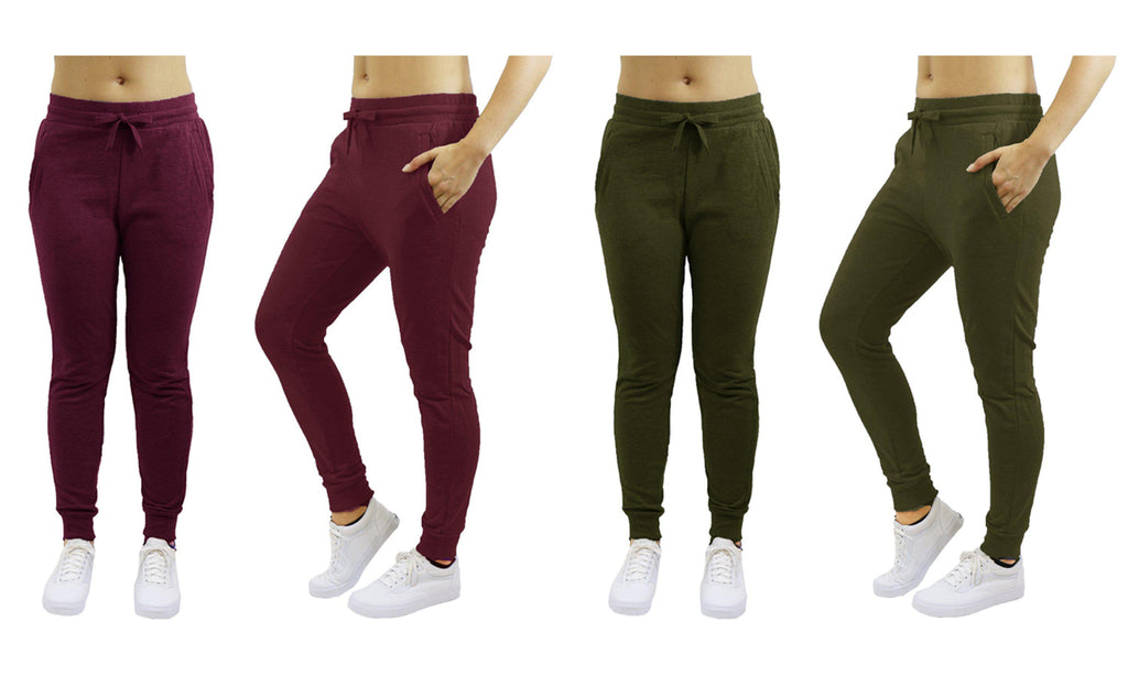 [2-Pack] Women's Heavyweight Fleece Lined Jogger Sweatpants-Burgundy & Olive-Small-Daily Steals