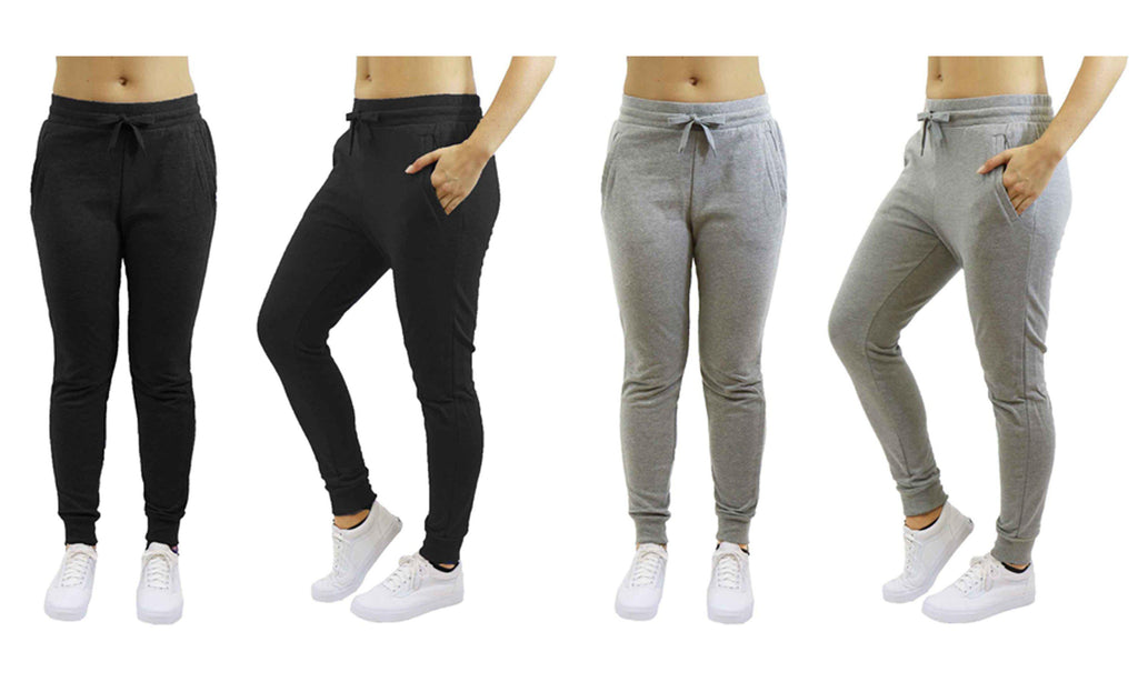 [2-Pack] Women's Heavyweight Fleece Lined Jogger Sweatpants-Black & Heather Grey-Small-Daily Steals