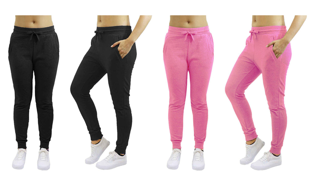 [2-Pack] Women's Heavyweight Fleece Lined Jogger Sweatpants-Black & Pink-Small-Daily Steals