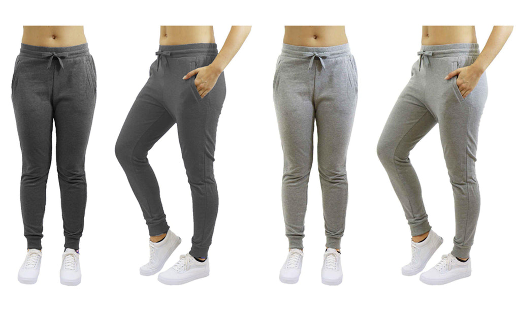[2-Pack] Women's Heavyweight Fleece Lined Jogger Sweatpants-Charcoal & Heather Grey-Large-Daily Steals
