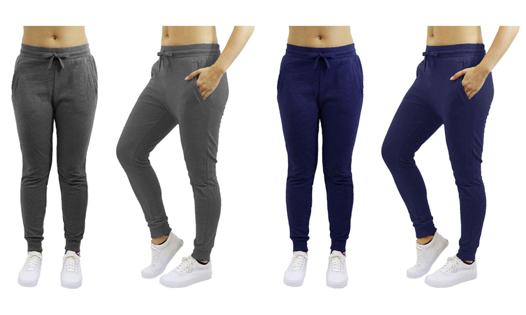 [2-Pack] Women's Heavyweight Fleece Lined Jogger Sweatpants-Charcoal & Navy-Small-Daily Steals