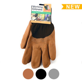 [3-Pack] Working Gloves with Rubber Coated Palm - One Size Fits Most