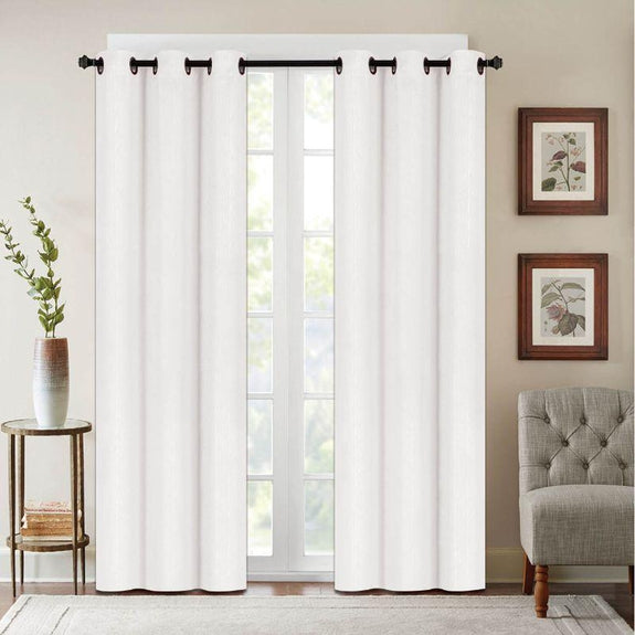 "Embossed Faux Silk 76""x63"" or 76""x84"" Grommet Window Panel Pair-WHITE-76"" X 84""-Daily Steals"