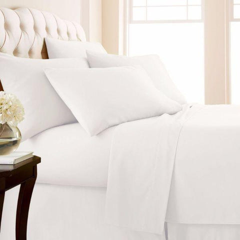 4-Piece: Luxury Home 1,000 Thread Count Egyptian Cotton Sheet Sets-White-Queen-Daily Steals