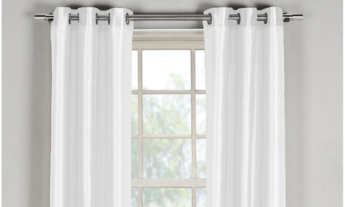 "Bali Faux Silk Grommet Window Panel Pairs-White - 38"" x 96""-Daily Steals"