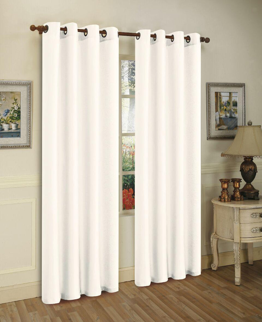 Mira Faux Silk Curtains with Bronze Grommets - 3 Panels-White-Daily Steals