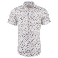 Suslo Couture Men's Slim Fit Designable Printed Short Sleeve Button Down Shirt-White & White Flags-S-Daily Steals