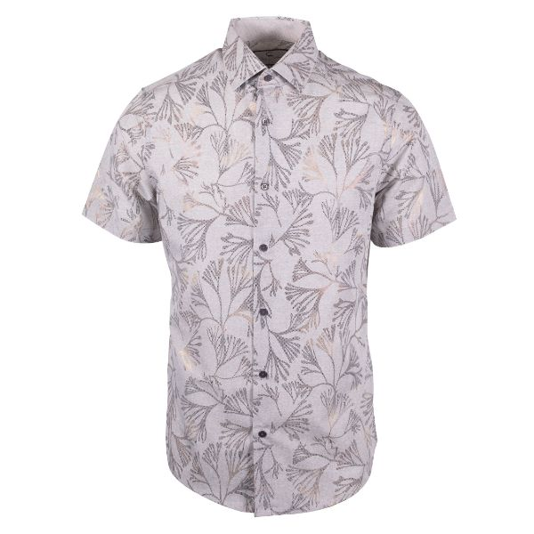 Daily Steals-Suslo Couture Men's Slim Fit Casual Printed Short Sleeve Button Down Shirt-Men's Apparel-White & Grey Branches-S-
