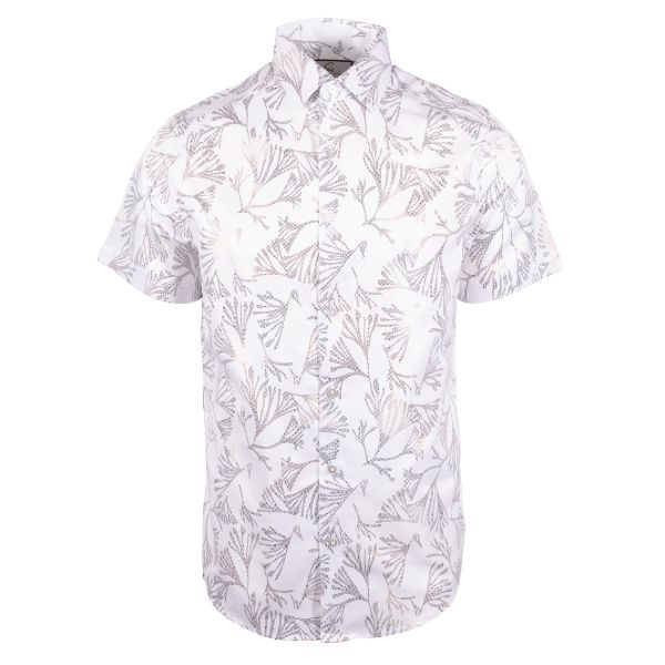 Daily Steals-Suslo Couture Men's Slim Fit Casual Printed Short Sleeve Button Down Shirt-Men's Apparel-White & White Branches-S-