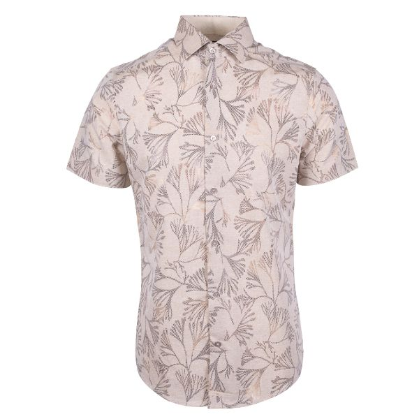 Daily Steals-Suslo Couture Men's Slim Fit Casual Printed Short Sleeve Button Down Shirt-Men's Apparel-White & Yellow Branches-S-