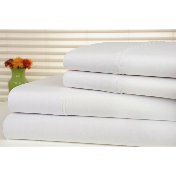 Bamboo Luxury 1800 Count Solid Sheet Set - 4 Pieces-White-Full-Daily Steals
