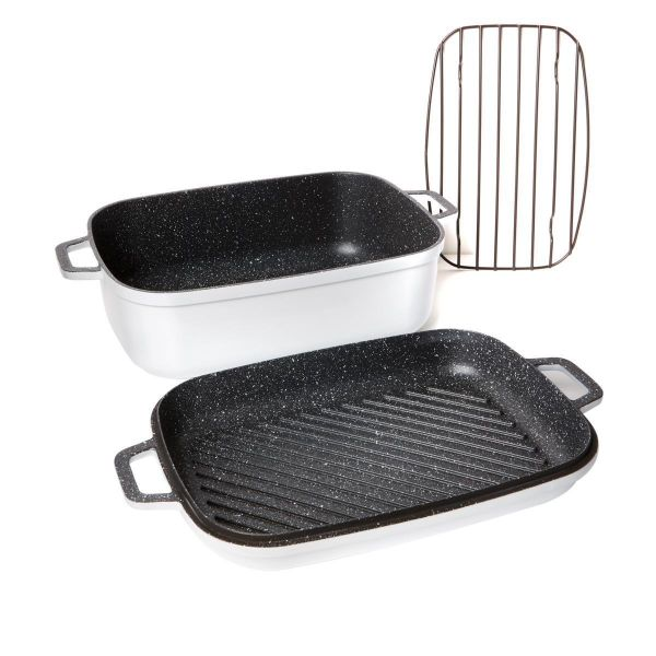Curtis Stone Dura-Pan Nonstick 8.5 qt. Roaster with 3.5 qt. Grill Lid-White-Daily Steals