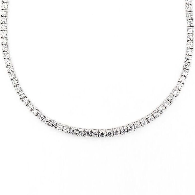 Classic 3mm Tennis Choker Necklace Made with Swarovski Crystals-Silver-Daily Steals