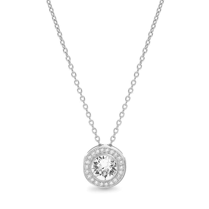 Classic Round Halo Necklace Made with Swarovski Crystals-Silver-Daily Steals