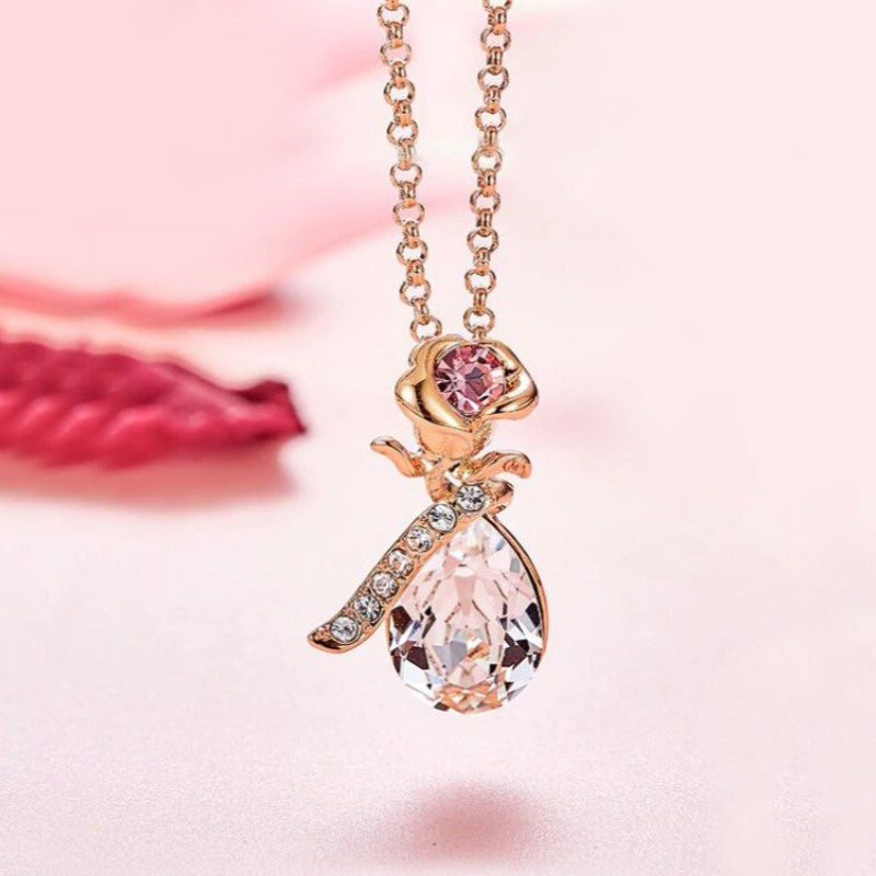 White Sapphire Teardrop Orchid Pendant Necklace Plated in 14K Rose Gold-Daily Steals