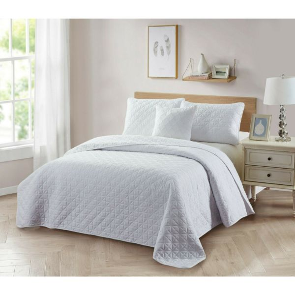 Bibb Home 4-Piece Solid Reversible Quilt Set-White-Twin-Daily Steals