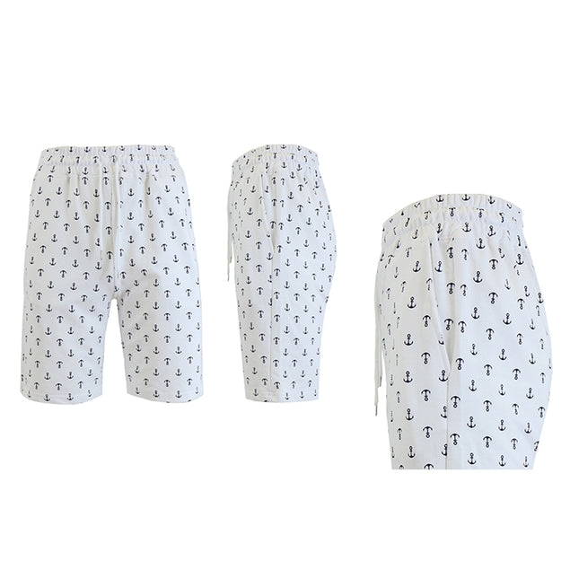 Shorts de felpa francesa estampados para hombre - Tallas S-2X-White Anchors-S-Daily Steals