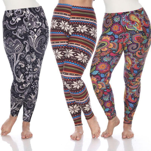 Whitemark Designed Leggings - 3 Pack-Brown-One Size Plus Size-
