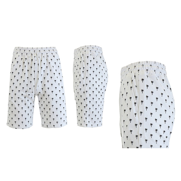 Shorts de felpa francesa estampados para hombre - Tallas S-2X-White Palm Trees-M-Daily Steals