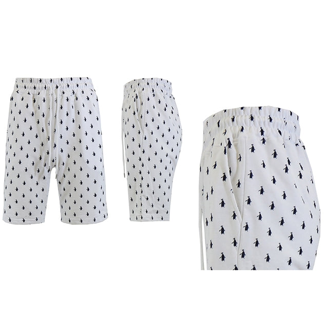 Shorts de felpa francesa estampados para hombre - Tallas S-2X-White Penguins-M-Daily Steals
