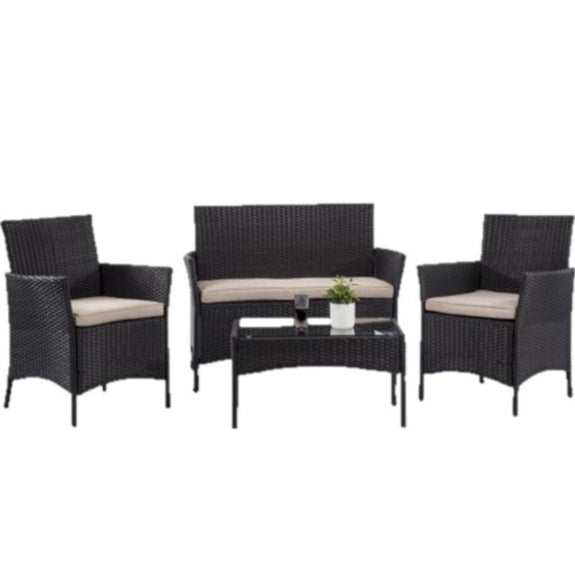 Wicker Furniture Set With Thick Cushions - 4 Piece-