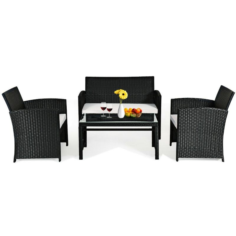 Wicker Conversation Furniture Patio Set - 4 Piece-Daily Steals