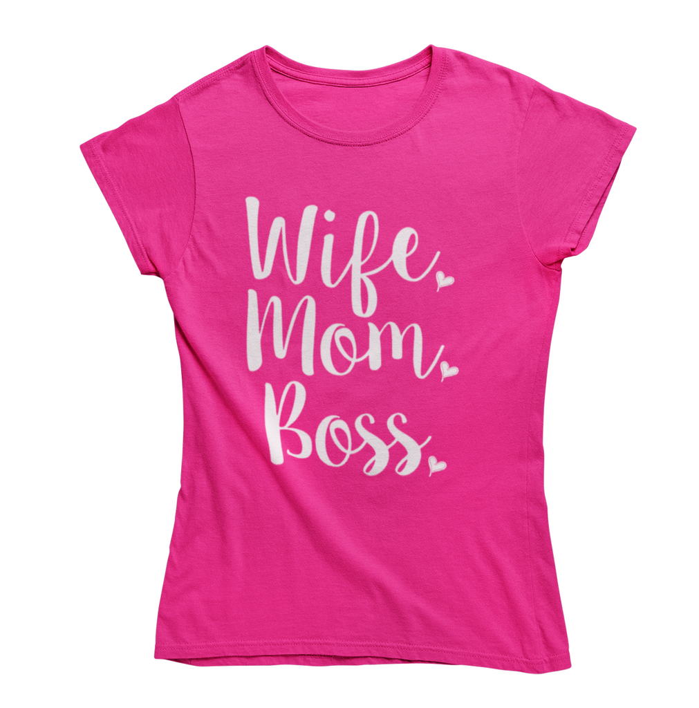 "Funny Mother's Day ""Wife Mom Boss"" T-Shirt-Pink-2X-Large-Daily Steals"