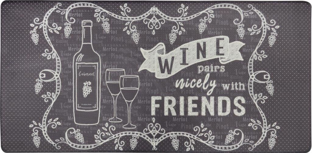 Oversized 20-Inch x 39-Inch Anti-Fatigue Embossed Floor Mat-WINE PAIRS NICELY-Daily Steals