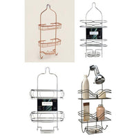 Wire Hanging Chrome, Stainless Steel Or Rose Gold Shower Caddy-Chrome Shower Caddy (Round)-