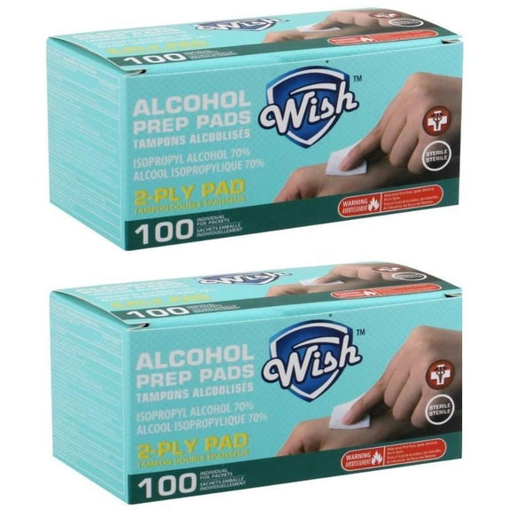 Wish Alcohol Prep Pads - 100 or 200 Pack-200 Pack-