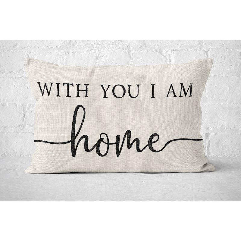 "With You I am Home - Lumbar Pillow Cover - 20"" x 12""-"