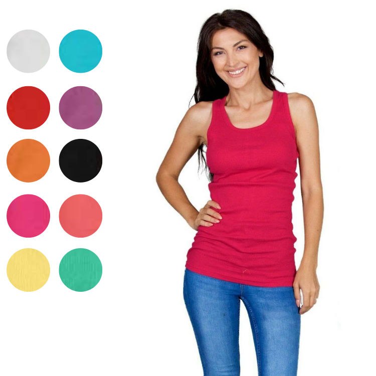 Women's 100% Cotton Racer-Back Lightweight Active Workout Tank Top - 10 Pack-Large-Daily Steals