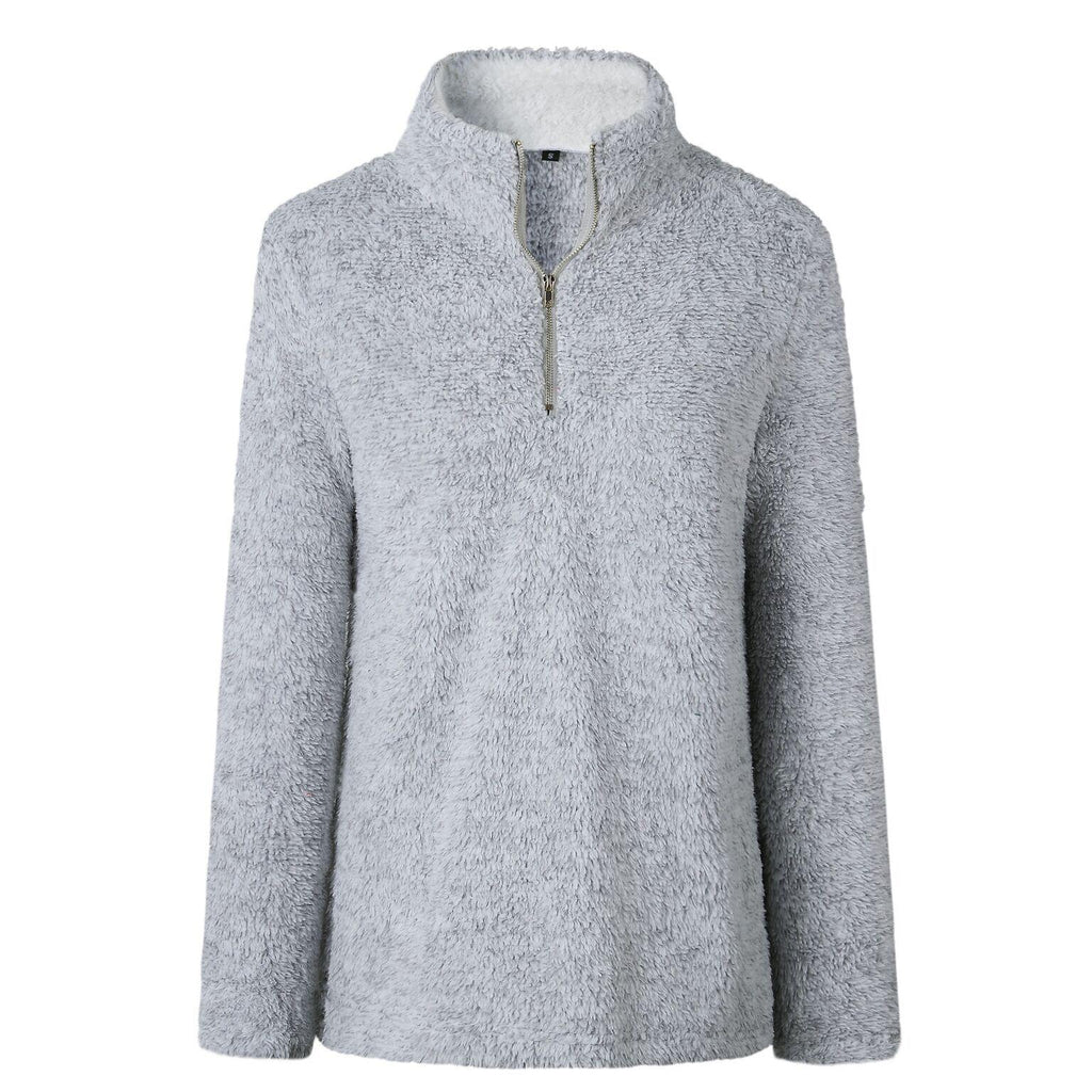 Zip Up Top Fleece Pullover-Grey-Large-Daily Steals