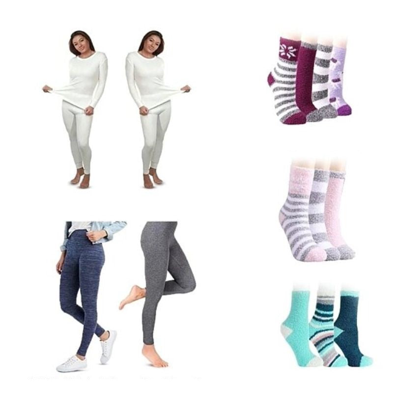 Women's Thermal Top and Bottom Set, High Waisted Fleece Leggings, and 3 Pairs of Cozy Fuzzy Socks