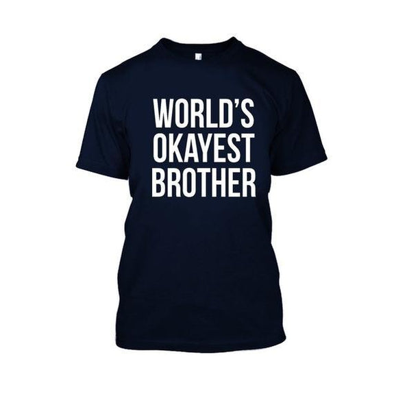 Adult World's Okayest Brother Tshirt-Navy Blue-XL-Daily Steals