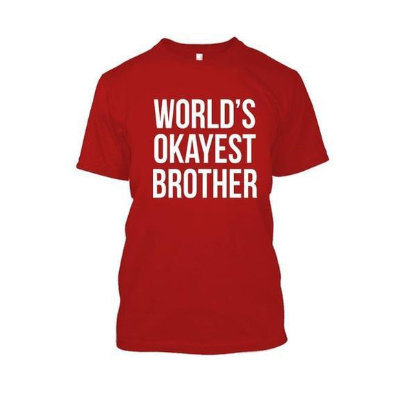 Adult World's Okayest Brother Tshirt-Red-XL-Daily Steals