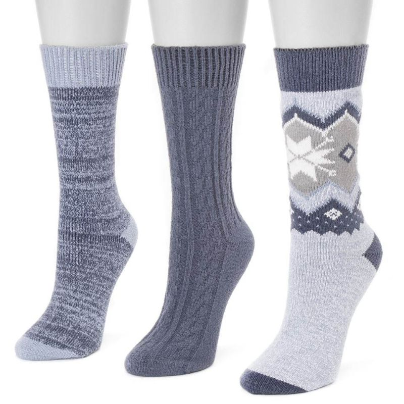 Women's 3 Pair Pack Boot Socks-Denim-Daily Steals