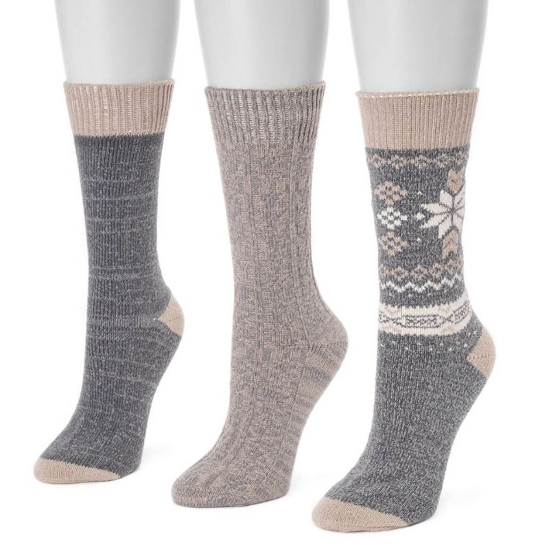 Women's 3 Pair Pack Boot Socks-Medium Grey-Daily Steals