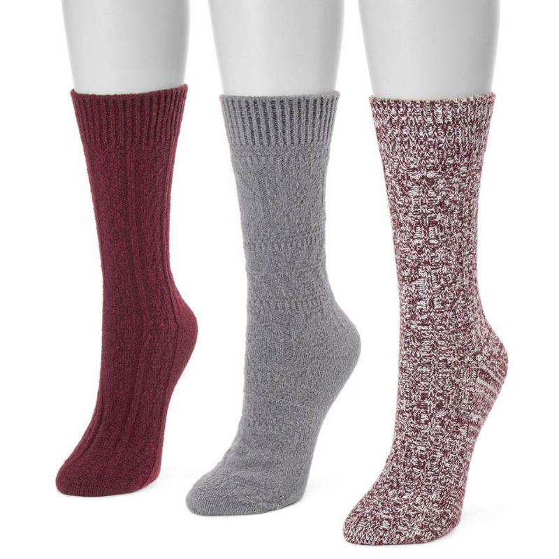 Women's 3 Pair Pack Boot Socks-Red-Daily Steals
