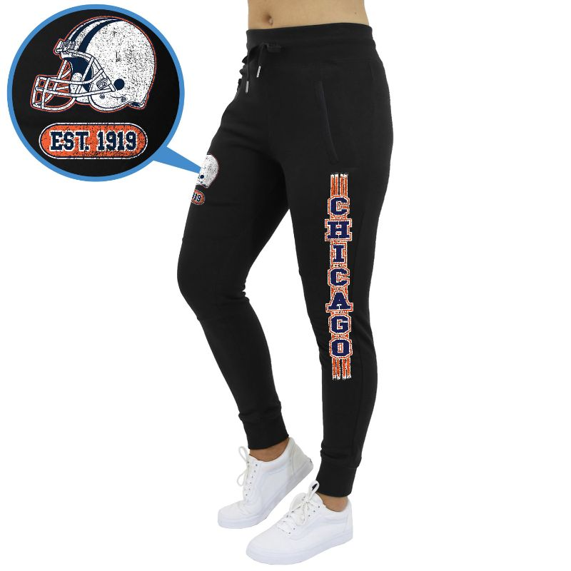 Women's Football Team Jogger Sweatpants-Chicago - Black-XL-Daily Steals