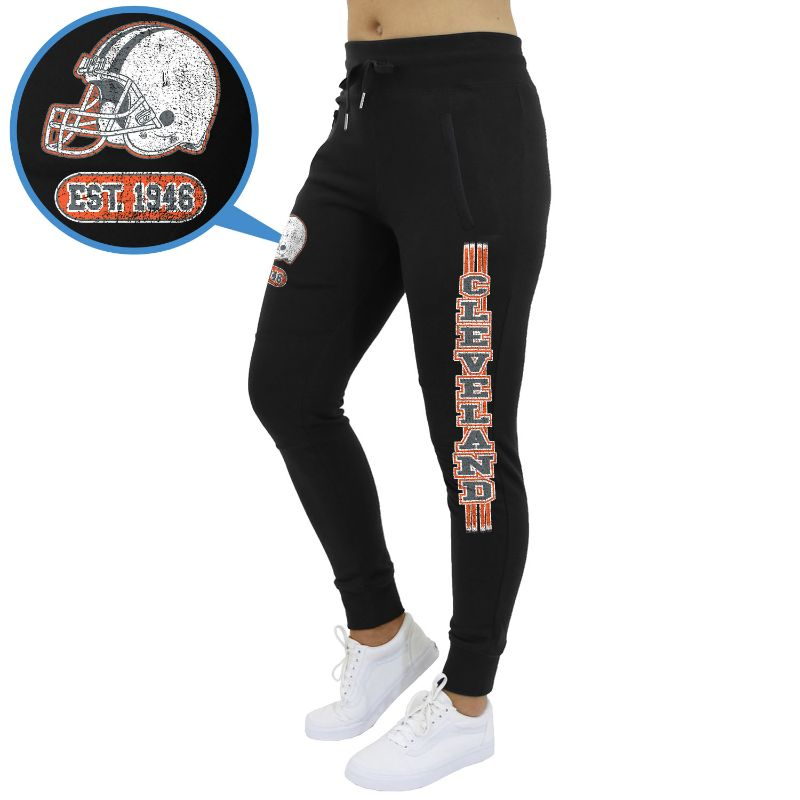 Women's Football Team Jogger Sweatpants-Cleveland - Black-S-Daily Steals