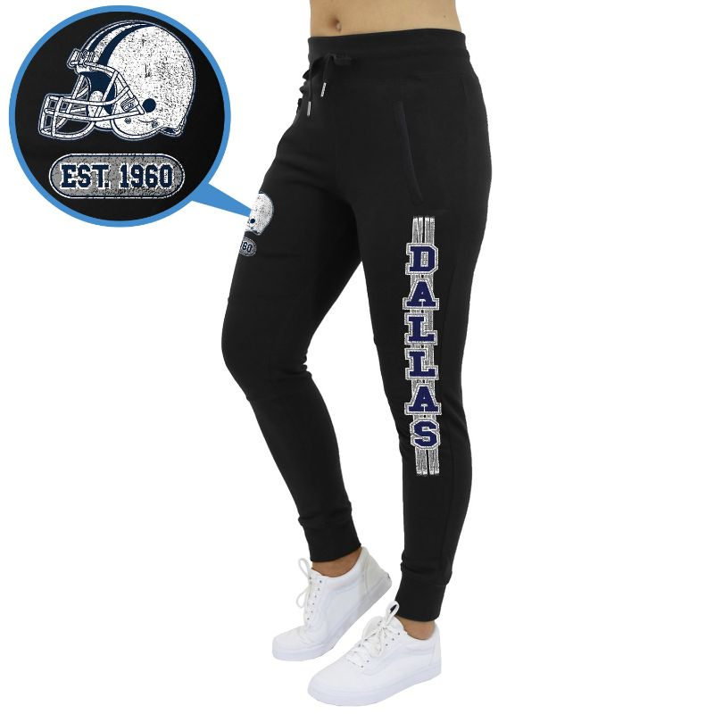 Women's Football Team Jogger Sweatpants-Dallas - Black-S-Daily Steals