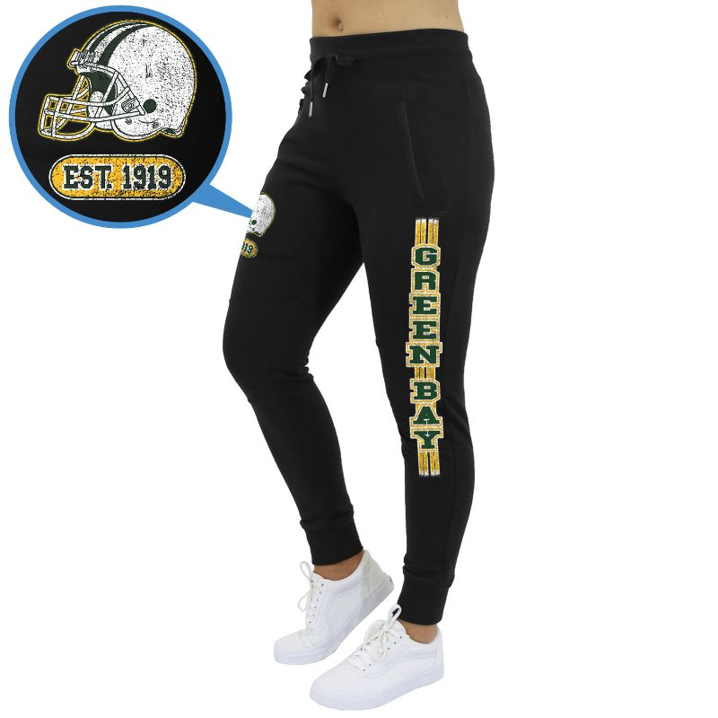Women's Football Team Jogger Sweatpants-Green Bay - Black-S-Daily Steals