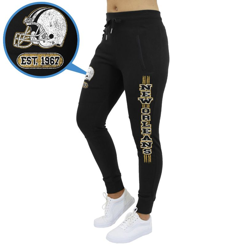 Women's Football Team Jogger Sweatpants-New Orleans - Black-S-Daily Steals