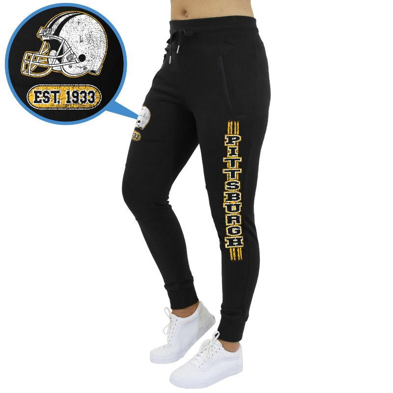 Women's Football Team Jogger Sweatpants-Pittsburgh - Black-M-Daily Steals