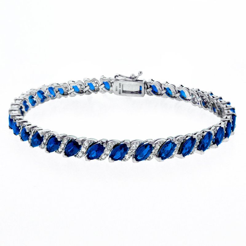 Women's Marquis Cut Bracelet Plated in 18K White Gold-Blue-Daily Steals