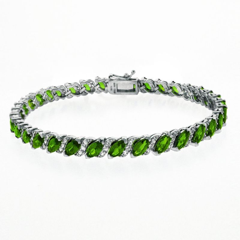 Women's Marquis Cut Bracelet Plated in 18K White Gold-Green-Daily Steals