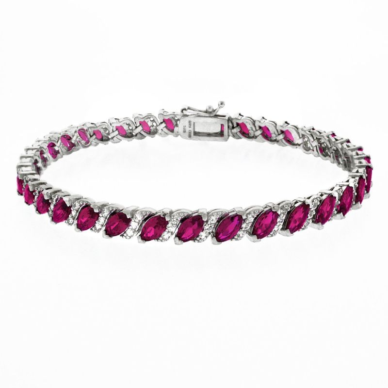 Women's Marquis Cut Bracelet Plated in 18K White Gold-Pink-Daily Steals